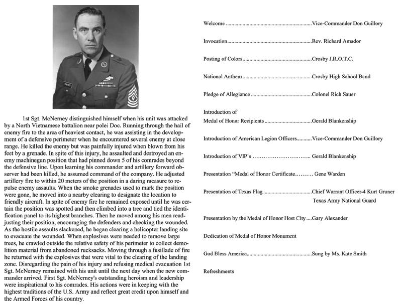 back of brochure for mcnerney monument dedication